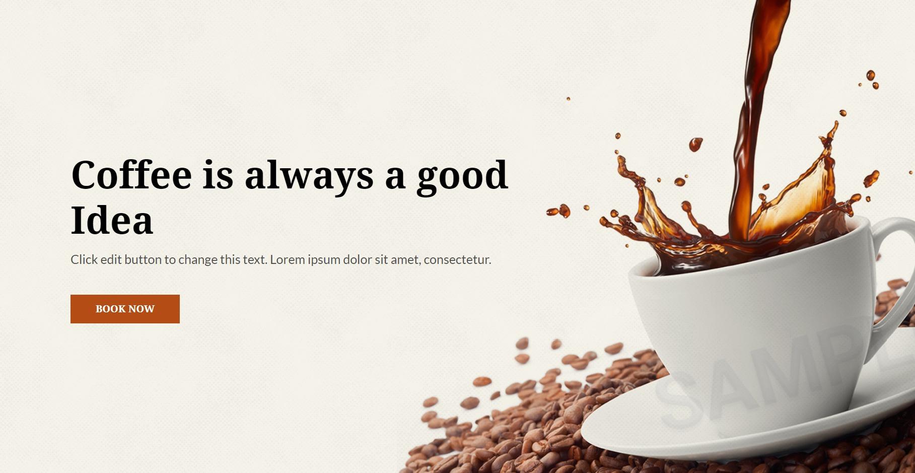 cafe elementor template