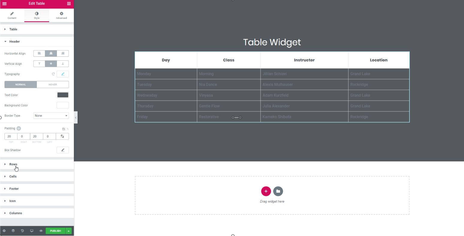 table widget for elementor