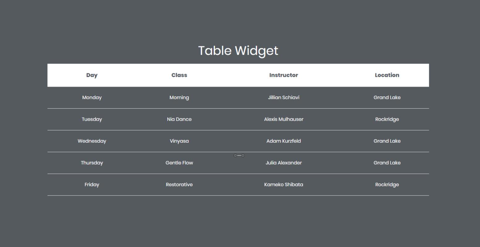 table widget elementor