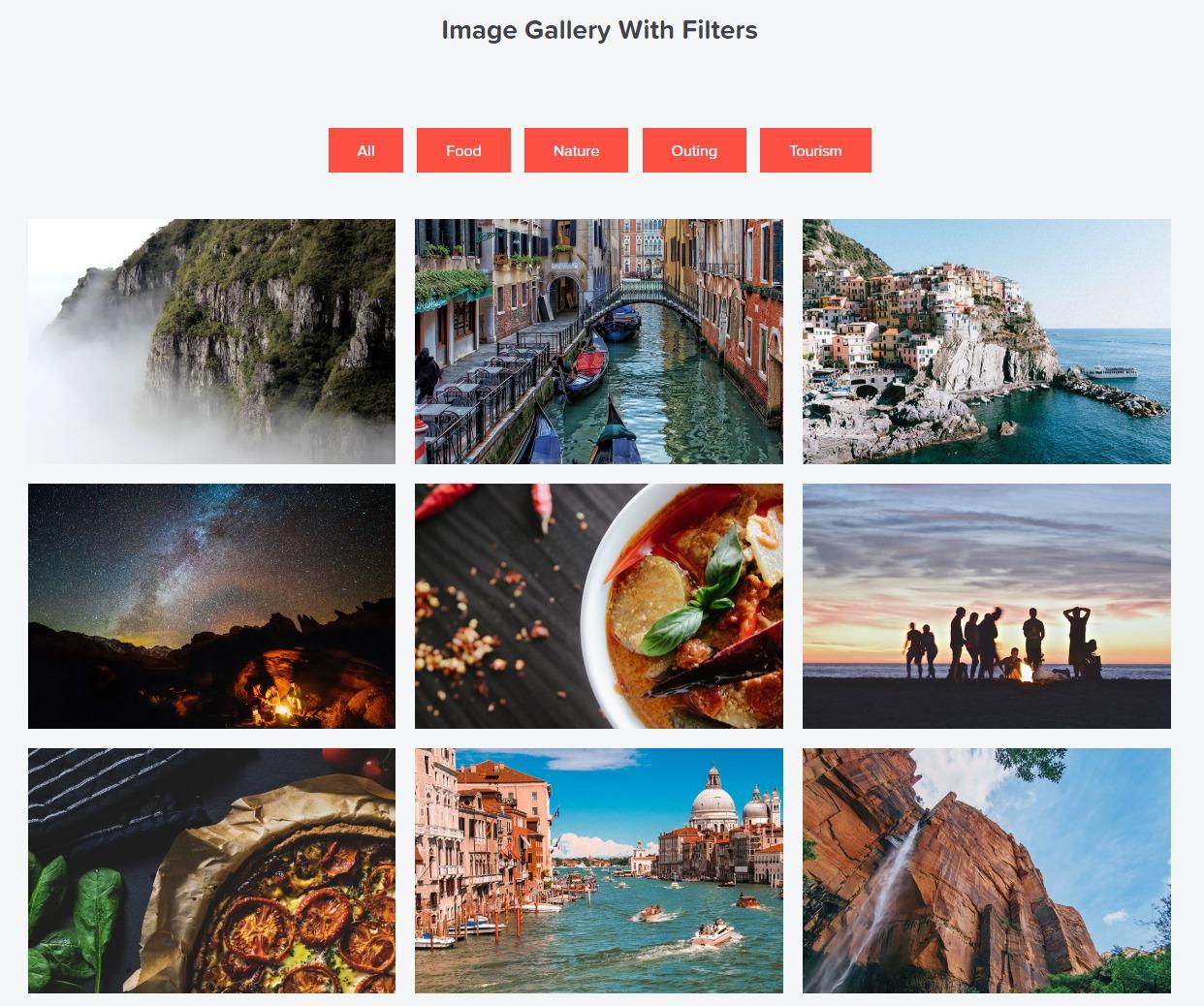 elementor filterable gallery