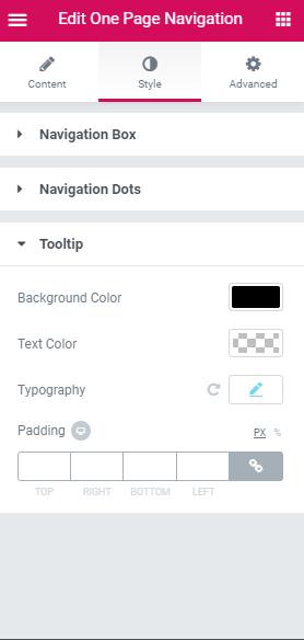 Elementor one-page navigation widget