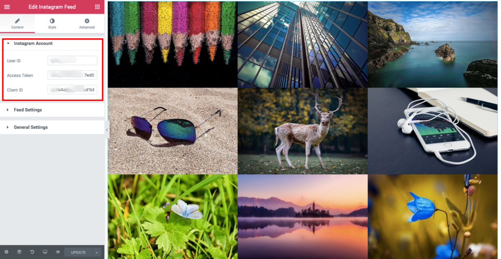 elementor-instagram-widget-settings