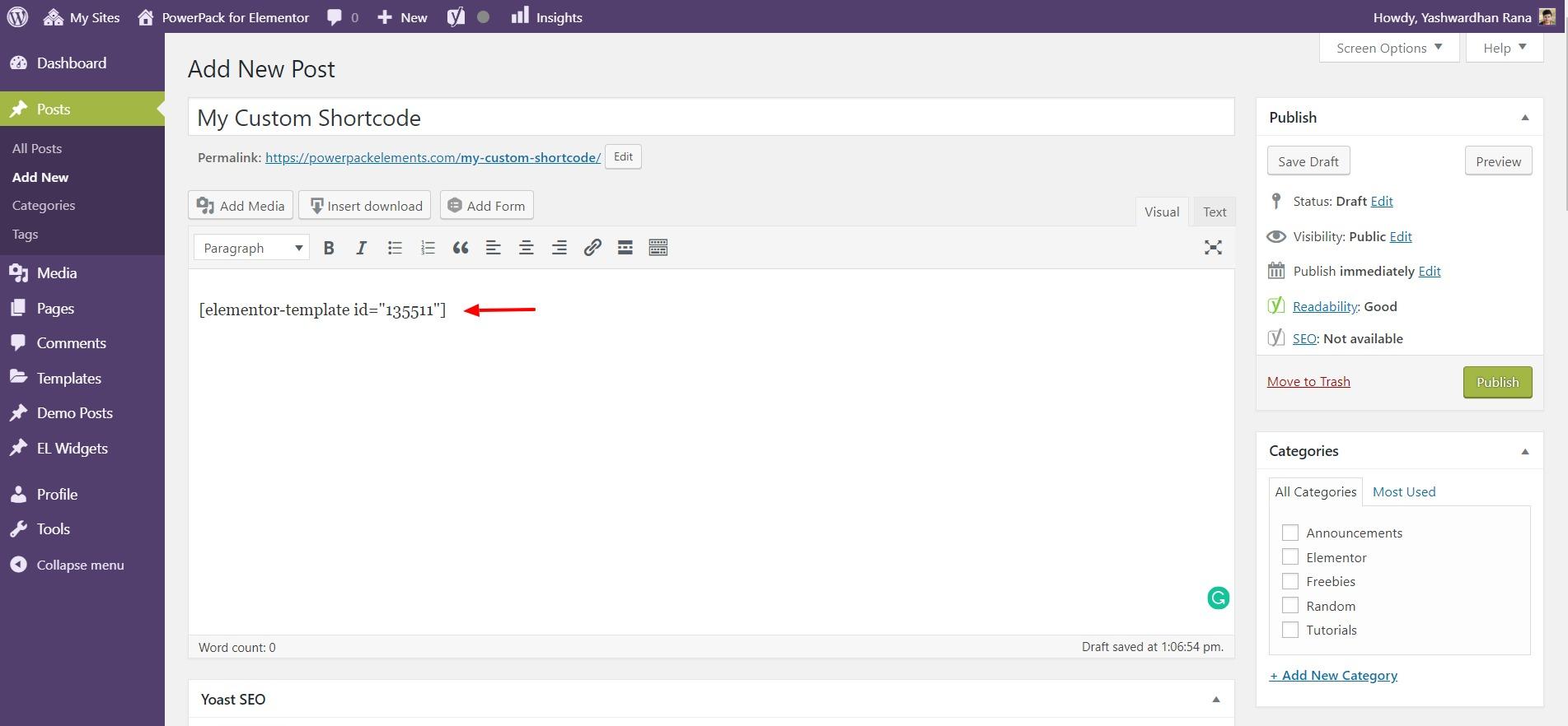 elementor template shortcode