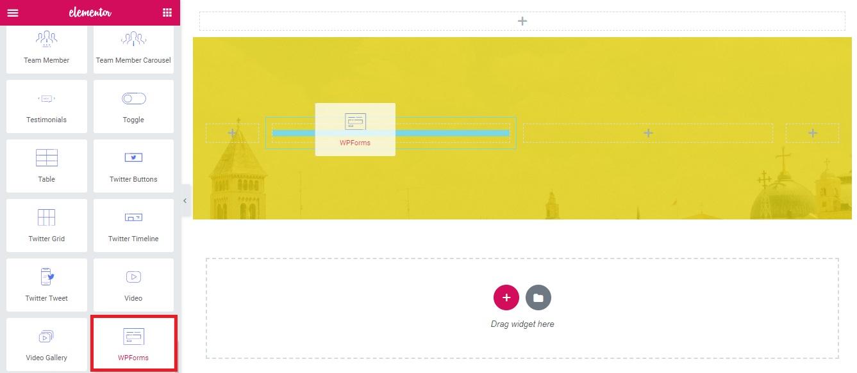 WPforms widget for Elementor