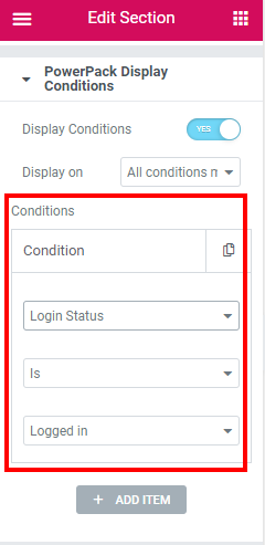 define conditions for elementor