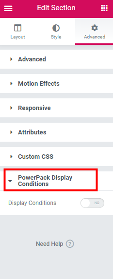 Advanced Display Condition for PowerPack