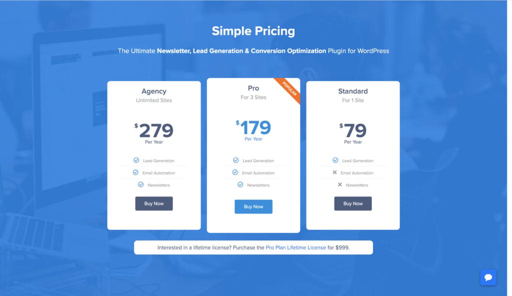 MailOptin Pricing