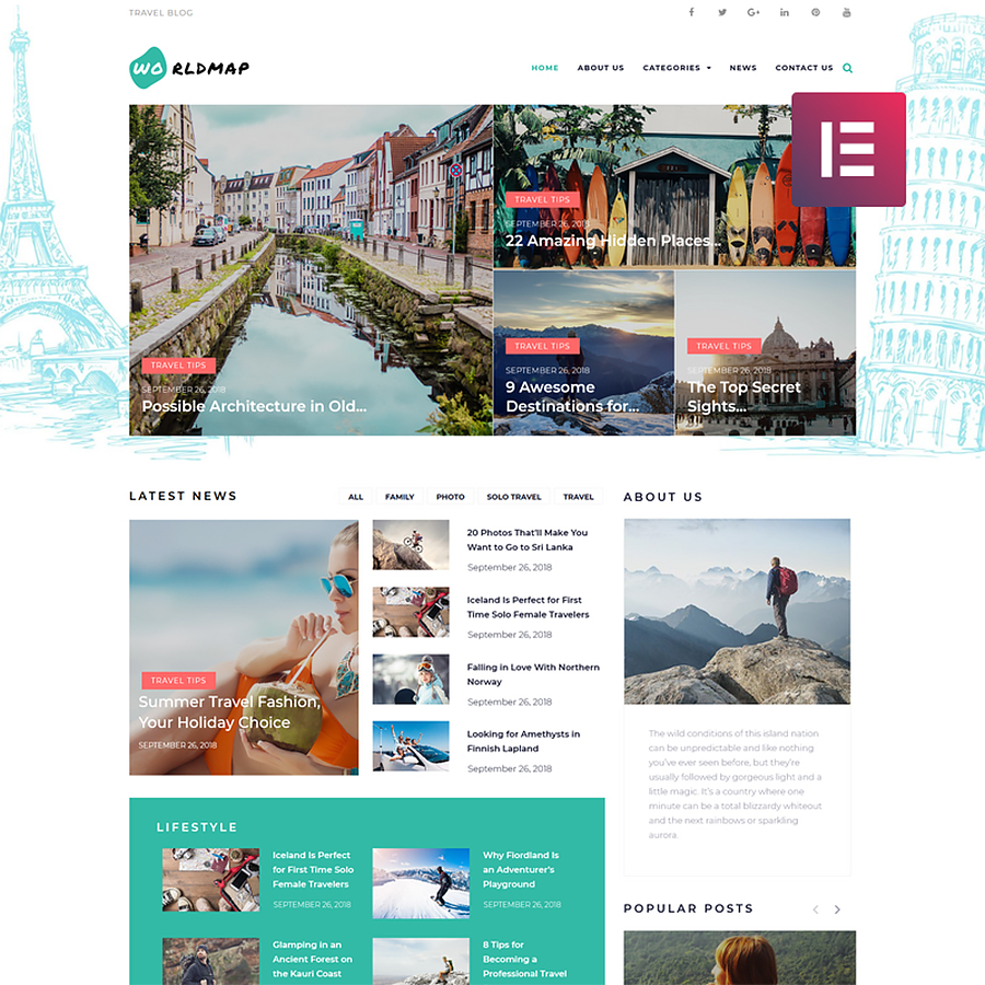 Travel Photo Blog Elementor WordPress Theme