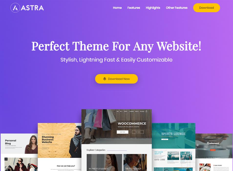astra WP free elementor theme