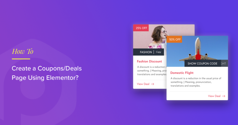 Coupons page Elementor