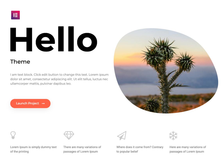 hello free elementor theme