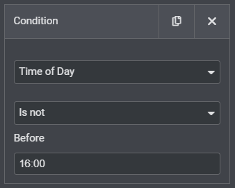 time setting 1 for display conditions