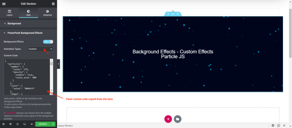 Paste the custom code to the Background Effects Custom Animation Type option