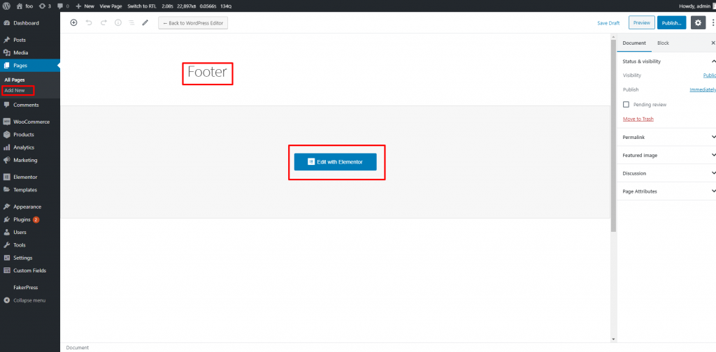Create a New Page Named Footer (for example) and click Edit with Elementor to create a custom footer layout