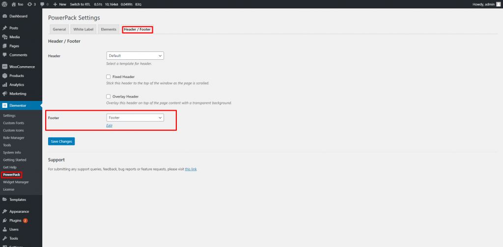Set the page as Footer in the PowerPack's Admin Settings