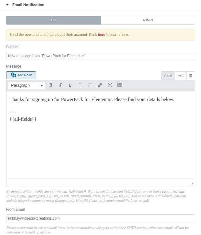 Email Notification - User
