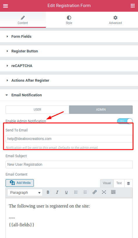 Setup Reply-to Email Address in Registration Form