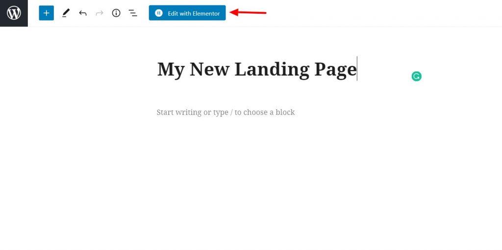 new landing page elementor