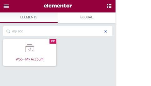 My Account WooCommerce Elementor