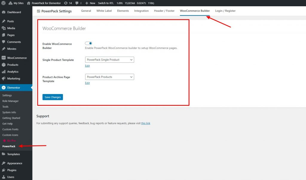 Single page WordPress Elementor