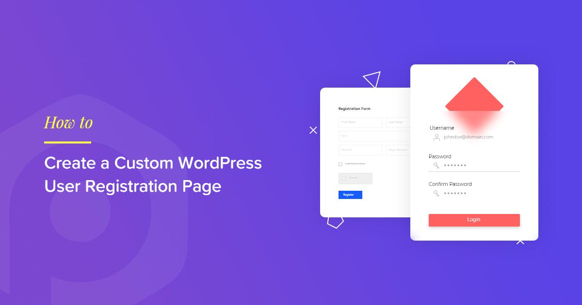WordPress user registration page elementor
