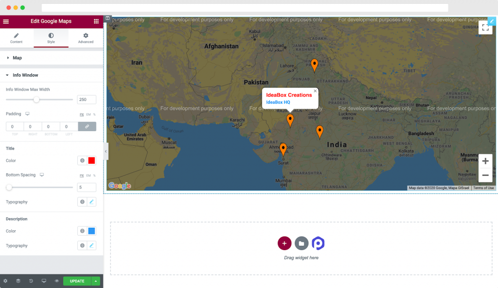Info Window Styling in Style Tab of PowerPack's Google Maps Elementor Widget